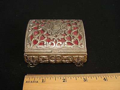 Vtg metal chest box, trinket, stash. Lacey metal. Red lining, 3.25 in.