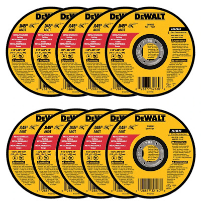 "DEWALT DW8062 4-1/2"" x .045 x 7/8"" Metal Cut-Off Wheel (10pk)"