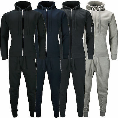 New Mens Tracksuit Set Fleece Hoodie Top Slim Fit Bottoms Jogging Joggers Gym