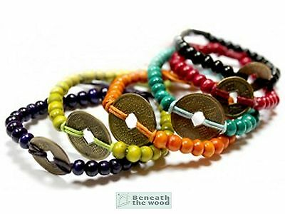 Feng Shui Bali Good Luck Coin And Wooden Beads Bracelets In Choice Of Colours