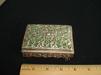 Vtg metal stash trinket box Lace style, green lining, corrugated bottom 3.5 in.
