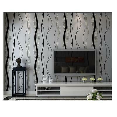 Non-Woven 3D Stripe Curve Wallpaper Roll Backdrop Wall Covering Paper Murals
