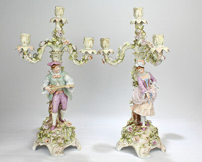 Pair of Large Figural Antique Meissen Style Candelabra by Sitzendorf - PC