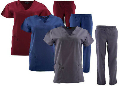 Unisex Medical Scrubs Men & Women V Neck  Top And Bottom Set