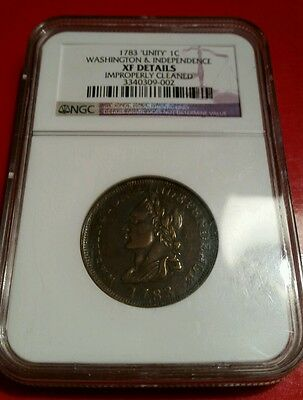 """Rare 1783 """"Unity"""" 1c Washington & Independence XF DETAILS US 1 Cent Coin"""