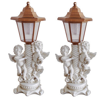 Gardenwize Solar Powered Pair of Cherub Angel Lamp Post Garden Porch Ornaments