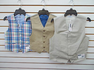 Boys IZOD $40 Plaid, Med Khaki, or Stone Vests Size 8 - 18/20