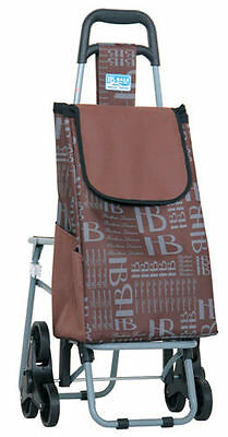 Executive Shopping Trolley With Seat and Easy Stair Climber Wheels