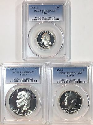 1976 S SILVER Washington Qtr, Kennedy Half & Eisenhower DLR PCGS PR69DCAM Proof
