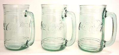 3 Vintage Coca Cola Green Tinted Glass Beer Mugs Steins With Handle