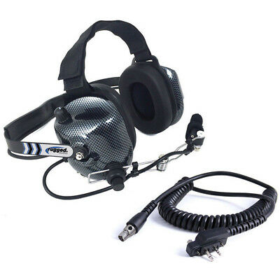 Rugged BTH Behind the Head Two Way Radio Racing Headset w/ Icom Coil Cord Cable