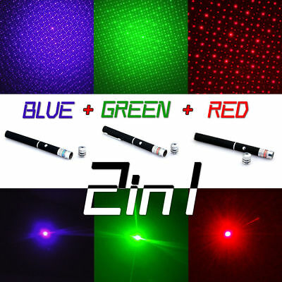 3* 10Miles 1mw Red+Green+Blue Purple Laser Pointer Pen Beam Light Lazer+Star Cap
