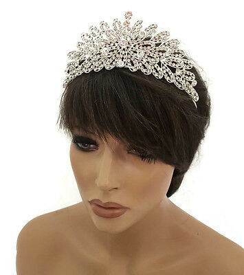 Stunning Crystal Diamante Silver Tiara Crown Prom Head Piece Floral Bridal Prom