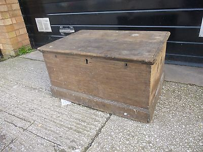 Antique Pine Chest Trunk Blanket Toy Box Storage Rustic