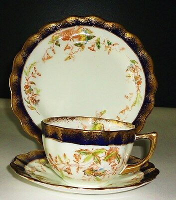 Victorian Tea cup Saucer & Tea plate    English vintage china flowers