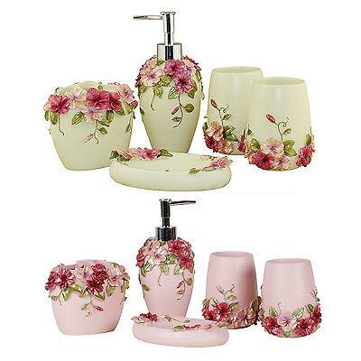 Country Style Resin 5Pcs Bathroom Accessories Set Soap Dispenser/Toothbrush Y6O5