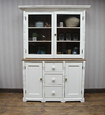 Superb Large Antique Pine Dresser, Victorian House Keepers Dresser, Cream Paint