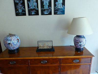Chinese Cloisonne Table Lamp and matching Ginger Jar