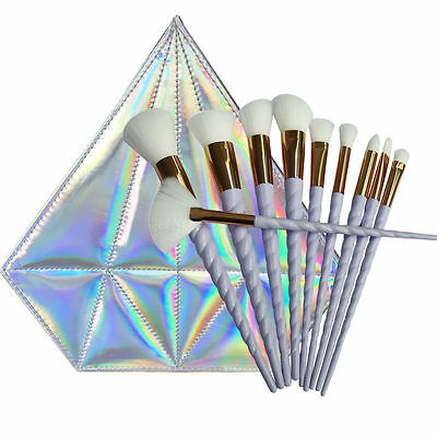 10PCS Rainbow Makeup Brushes Eyeshadow Foundation Face Cosmetic Set Diamond Bag