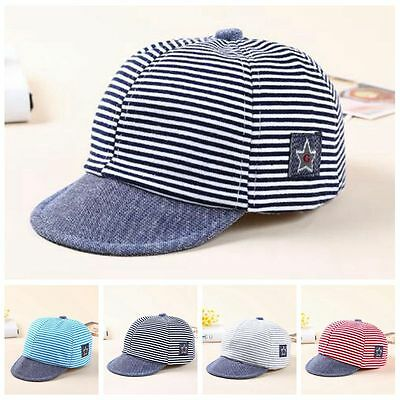 Baby Boy Summer Hats Striped Soft Cotton Eaves Baseball Cap Sun Hat Beret Sunhat