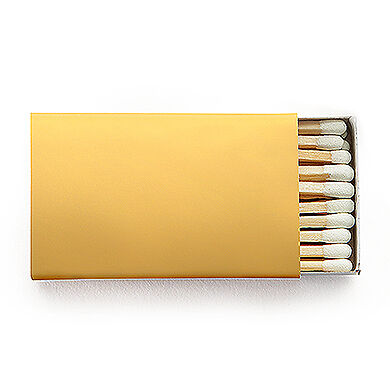100 Plain Matchboxes with Matches in Gold Wooden Matches