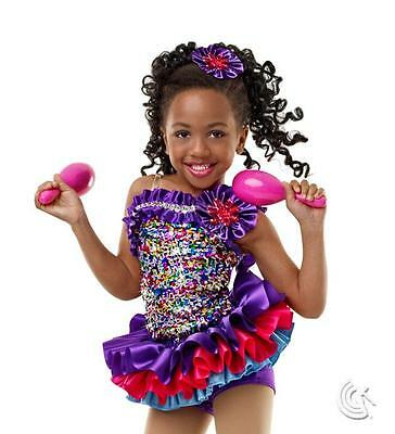 Dance Costume Small Child Cha Cha Latin Purple Pink JazzSolo Competition Pageant