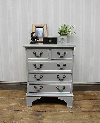 Attractive Hand Painted Reproduction Bedside Chest, Pale grey, shabby chic