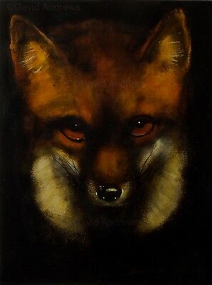 RED FOX PORTRAIT : LARGE ORIGINAL OIL PAINTING : Wildlife Art by David Andrews