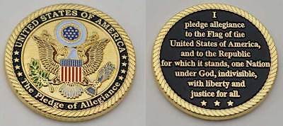 "United States of America ""The Pledge of Allegiance"" Challenge Coin w/s FD IN USA"