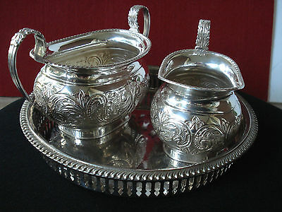 Ornate Creamer/ Sugar by Legacy Silverplate on co-ordinated gadroon gallery tray