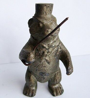 Victorian / Edwardian Spelter Bear with Top Hat.