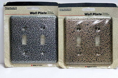 Lot of 2 Vtg Hammered Steel Double Wall Switch Plate Covers NIB