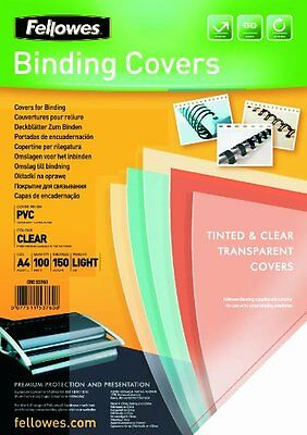 Fellowes PVC Binding Cover A4 150 Micons Clear  Pack of 100