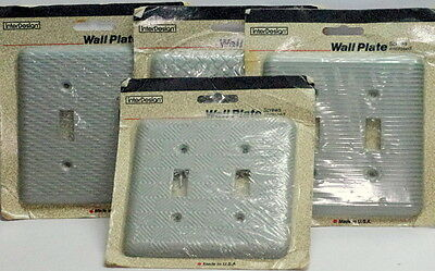 Lot of 4 Vtg Industrial Grey Steel Double Wall Switch Plate Covers NIB