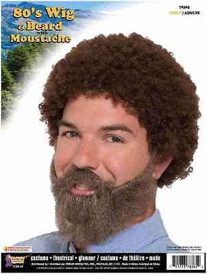 80's Guy Wig and Beard with Moustache Bob Ross Joy Of Painting Painter Afro