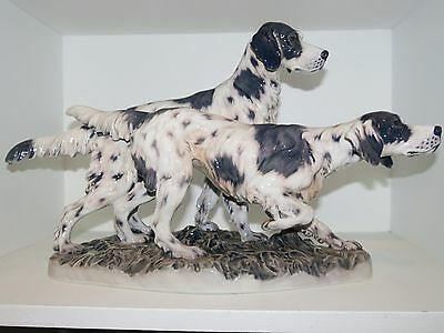Large Dahl Jensen figurine group, two English Setters