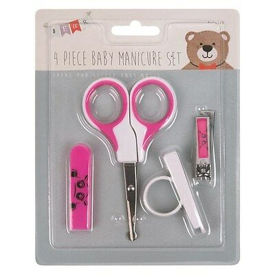 4 Piece Baby New Born First Year Hair Nail Clippers Grooming Manicure Set Pink