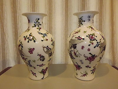 4 Matching Antique Oriental Vases Flowers Birds Japanese ? Chinese ? Cloissone ?