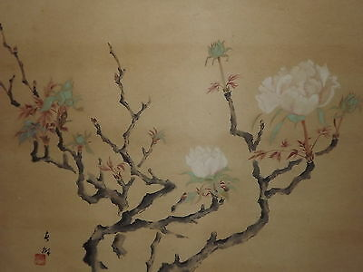 Antique Japanese Hanging Scroll Peonies & Blue Flowers (RN#20)