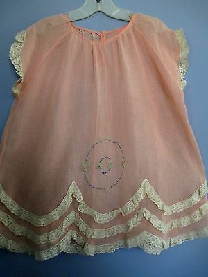 Vintage 1920s Girls Dress Peach Cotton Lace Embroidered