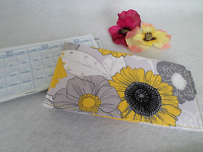 Grey, Yellow, Black, White Floral Fabric Checkbook Cover, NEW Handmade (#2)
