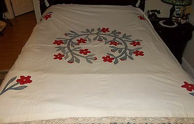 Antique Applique' Quilt Top ~ Floral Wreath w/ Pillow Sham ~ 1800's