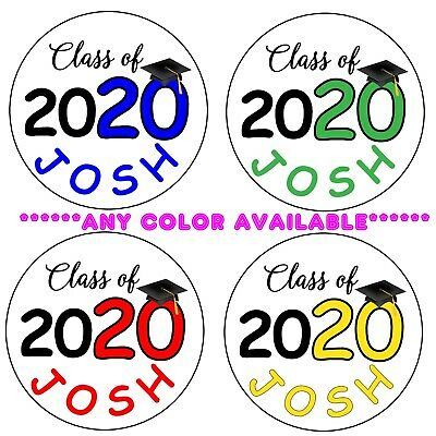 "12 GRADUATION 2019 CAP ANY COLOR Personalized 2.5"" Round Labels Stickers"