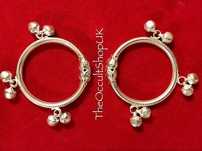 2 x Baby Silver Bangle Karma Anklet Bells Pendant Charm Wicca Gothic Charm Fairy