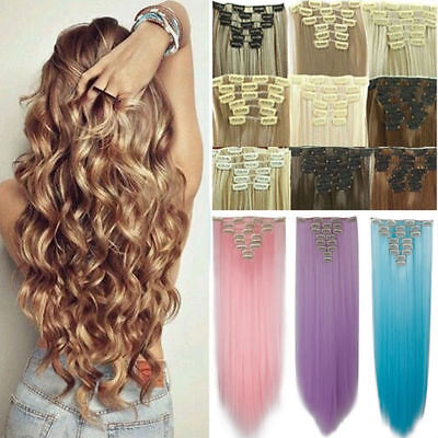 100% Natural Remy Clip in Hair Extensions 8 Pieces Full Head Long As Human Hair
