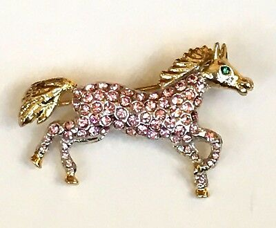 Horse Pin Swarovski Crystal Jeweled Pony Authentic Rucinni Pink Gold Brooch NIP