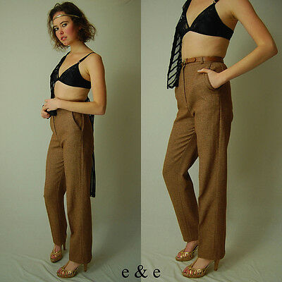 VTG 60s Tan Wool Tweed High Waist Preppy Boho Belted Trouser Pants (26 waist)