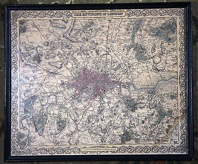 The Environs of London England City Vintage Original 1855 Colton Atlas Map Rare