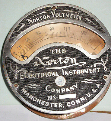 Norton Electric Wallmount Voltmeter Brass Faceplate and Iron body for steampunk