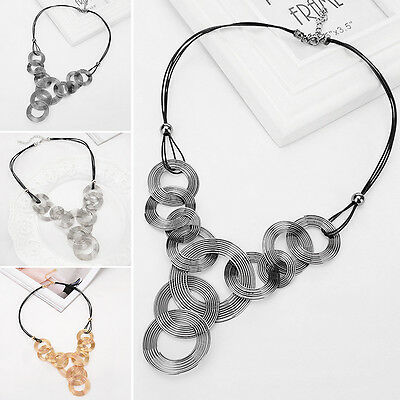 Vintage Women Jewelry Crystal Chain Pendant Bib Choker Statement Collar Necklace